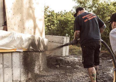 Betongsprutning av mur i Göteborg